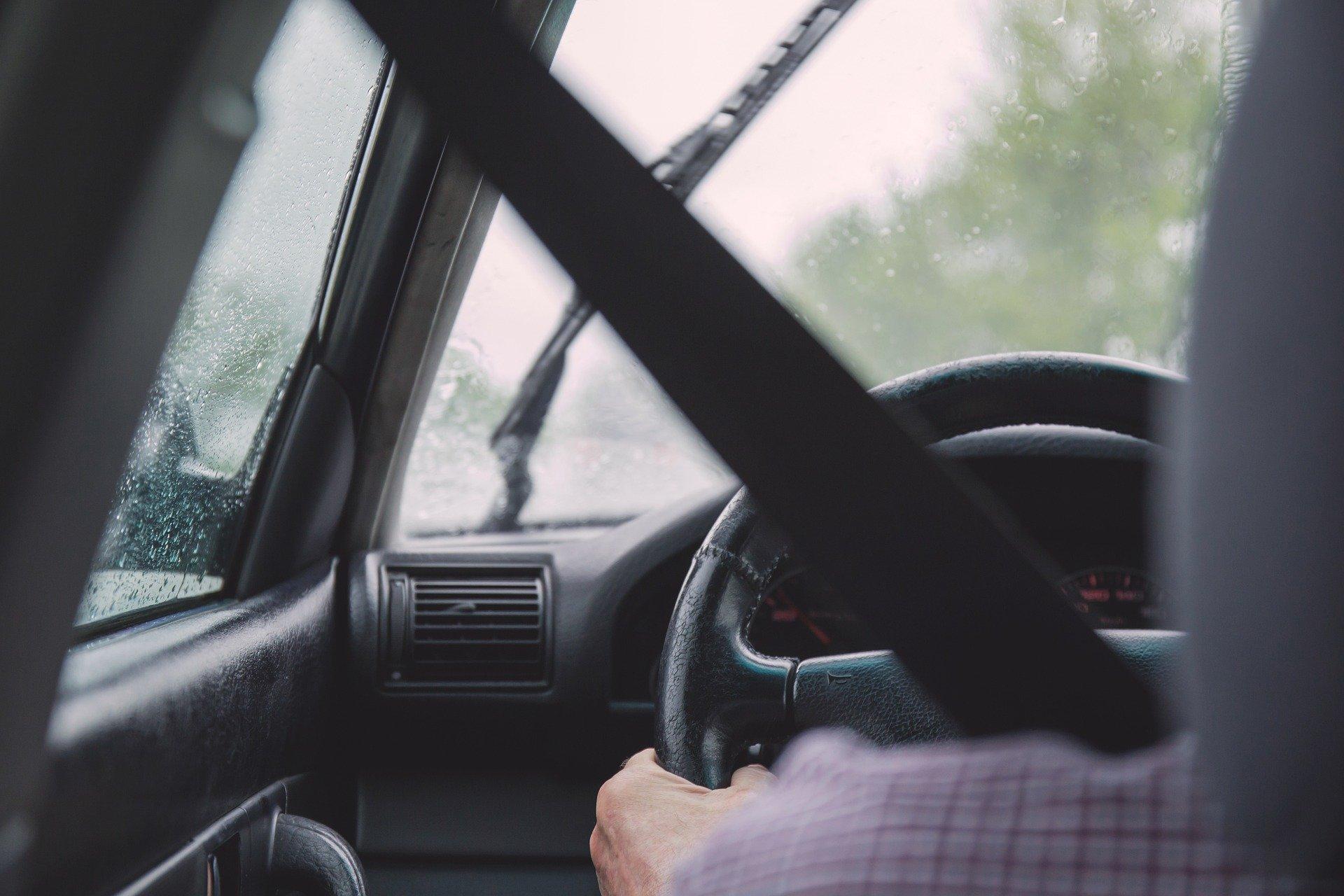 car in rain